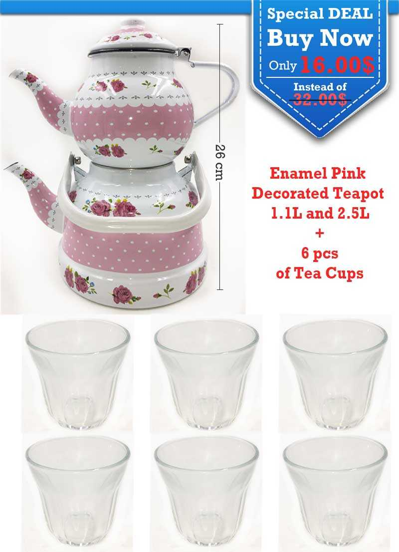 Special Deal Enamel Pink Decorated Teapot 1 L , 2.5 L and 6 pcs of Tea Cups