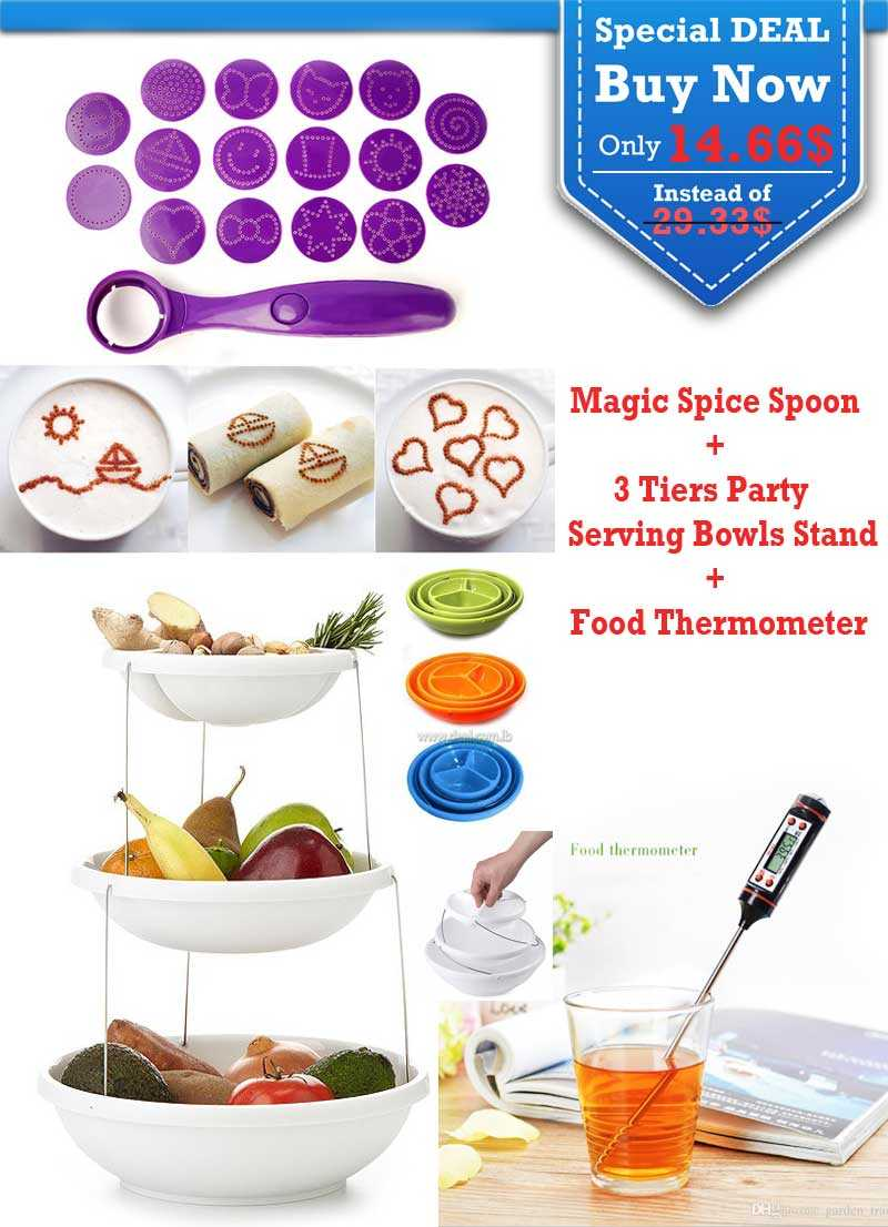 Special Deal Food Thermometer The Magic Spice Spoon And 3 Tiers Party Serving Bowls Stand
