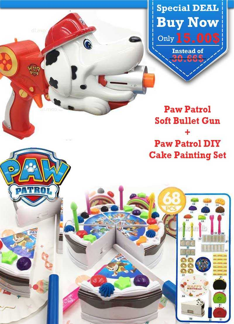 Special Deal Paw Patrol Soft Bullet Gun and Paw Patrol DIY Cake Painting Set