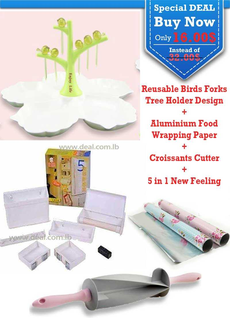 Special Deal Reusable Birds Forks Tree Holder Design and Aluminium Food Wrapping Paper and Croissants Cutter and 5 in 1 New Feeling