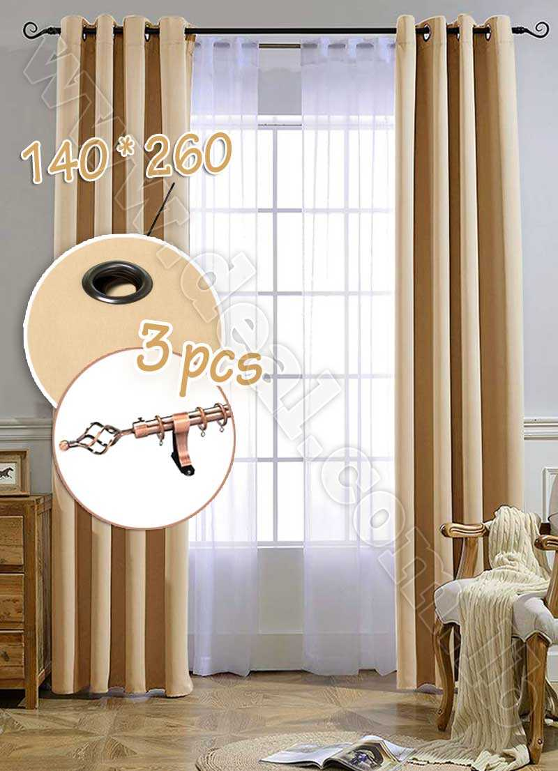 Special+Offer+Set+Of+3+Pcs+Rideau+Coated+Blackout+Curtain+Beige+With++Bronze+Curtain+Rod