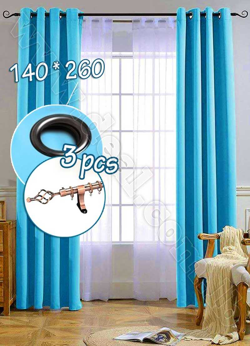 Special+Offer+Set+Of+3+Pcs+Rideau+Coated+Blackout+Curtain+Blue+With+Bronze+Curtain+Rod
