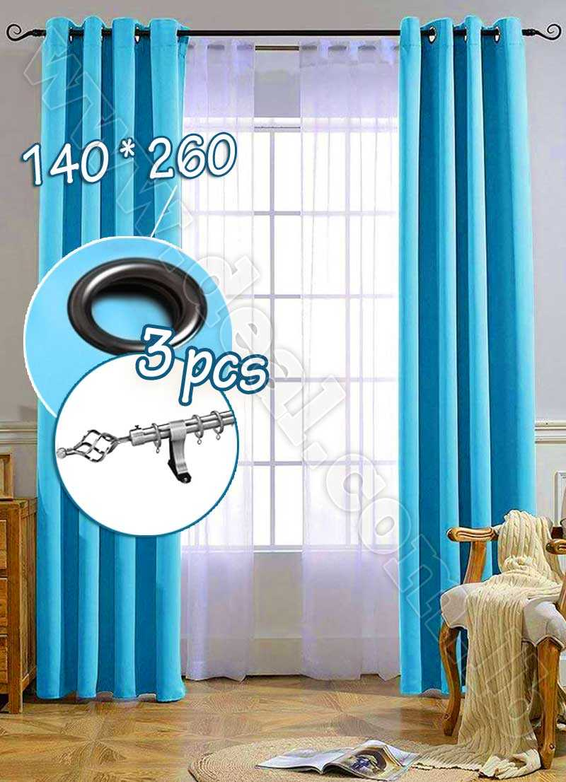 Special Offer Set Of 3 Pcs Rideau Coated Blackout Curtain Blue With Silver Curtain Rod