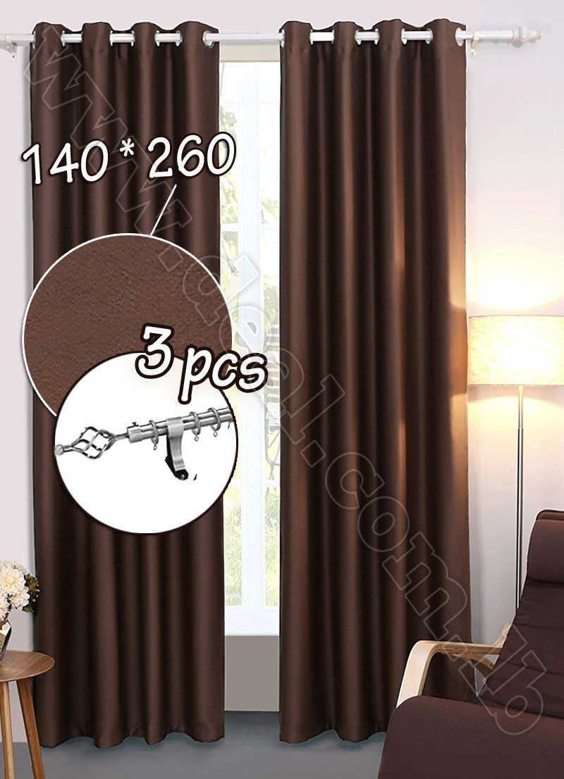 Special+Offer+Set+Of+3+Pcs+Rideau+Coated+Blackout+Curtain+Brown++With+Silver+Curtain+Rod