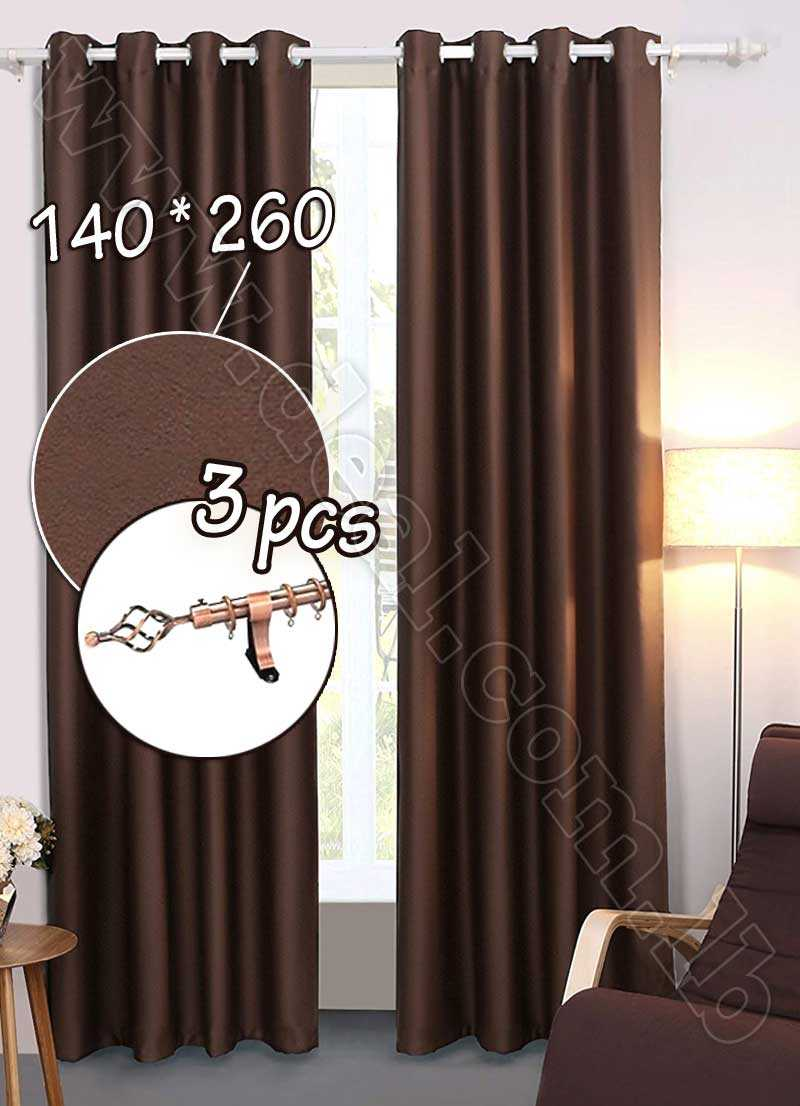 Special+Offer+Set+Of+3+Pcs+Rideau+Coated+Blackout+Curtain+Brown+With+Bronze+Curtain+Rod