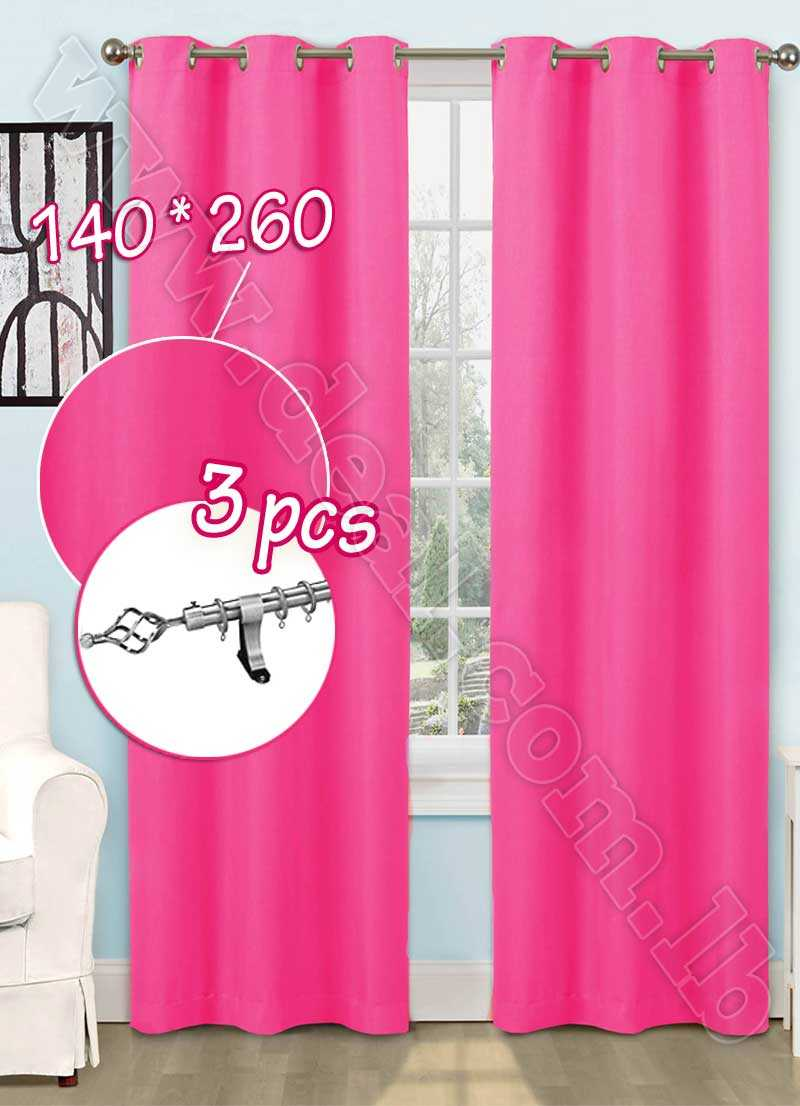 Special Offer Set Of 3 Pcs Rideau Coated Blackout Curtain Pink  With Silver Curtain Rod