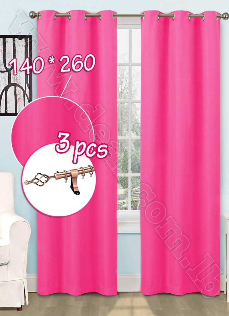 Special+Offer+Set+Of+3+Pcs+Rideau+Coated+Blackout+Curtain+Pink+With+Bronze+Curtain+Rod