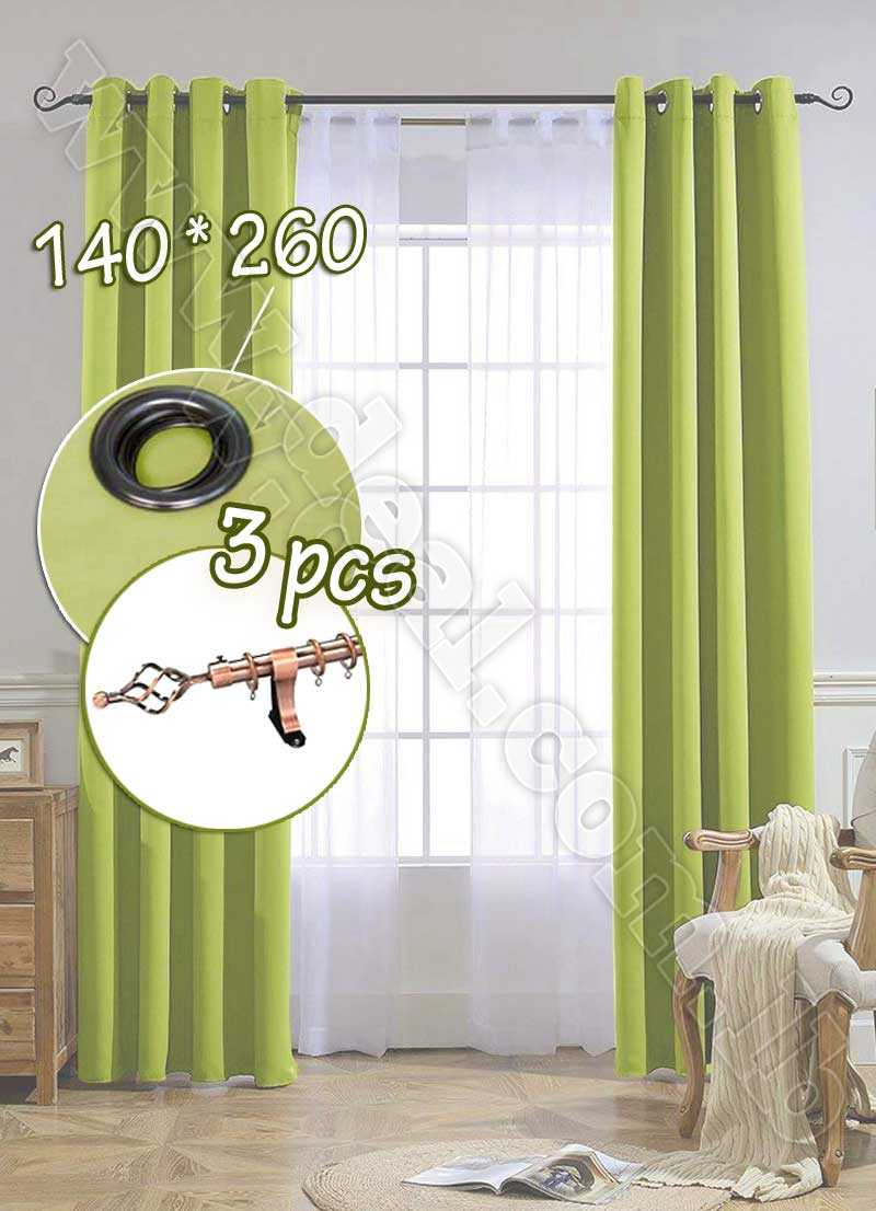 Special Offer Set Of 3 Pcs Rideau Coated Blackout Curtain Pistache   With Bronze Curtain Rod