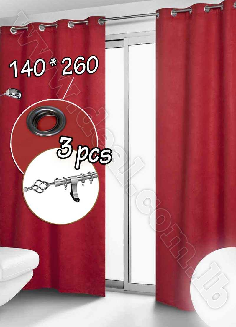 Special+Offer+Set+Of+3+Pcs+Rideau+Coated+Blackout+Curtain+Red+With+Silver+Curtain+Rod