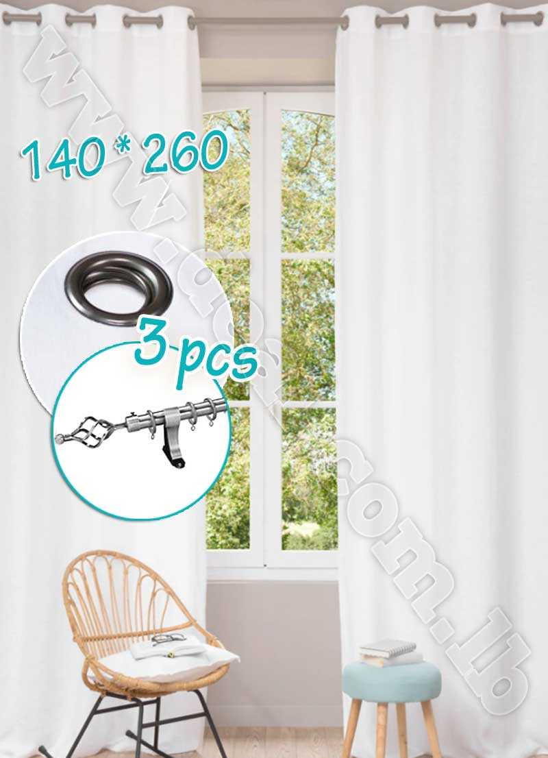 Special Offer Set Of 3 Pcs Rideau Coated Blackout Curtain White  With Silver Curtain Rod