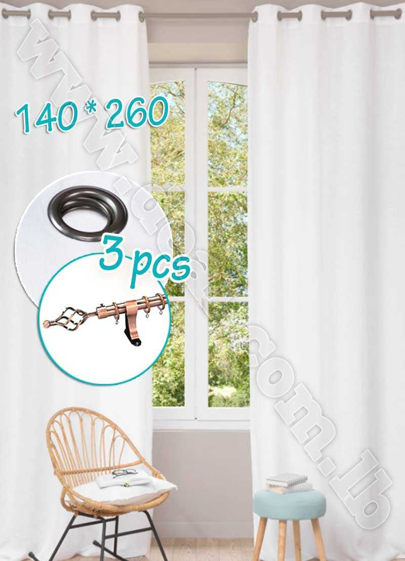 Special Offer Set Of 3 Pcs Rideau Coated Blackout Curtain White With Bronze Curtain Rod