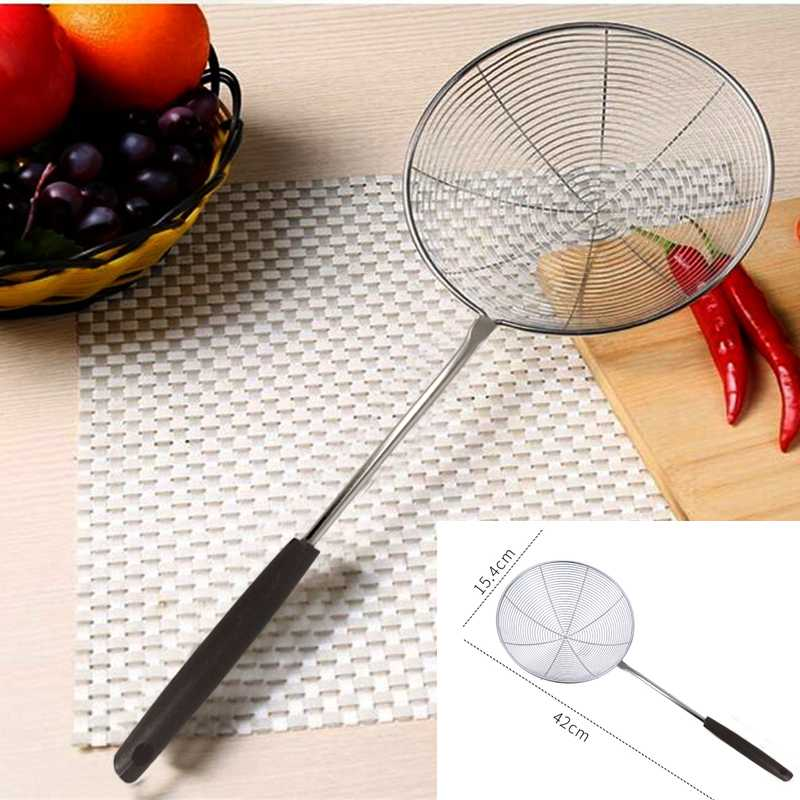 Spider Strainer Skimmer Ladle Stainless Steel Asian Metal Frying Basket With Long Handle Large Spoon