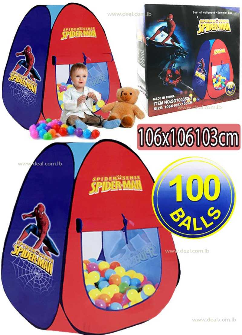 Spiderman Tent With 100 Balls Pop up play tent Large Space Kid
