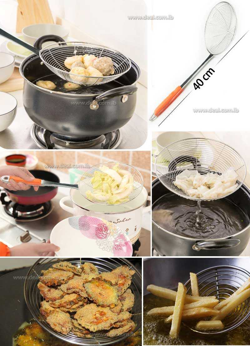 Spoon Stainless Steel Kitchen Strainer Noodles Leaking Fried Spicy  fishing sieve