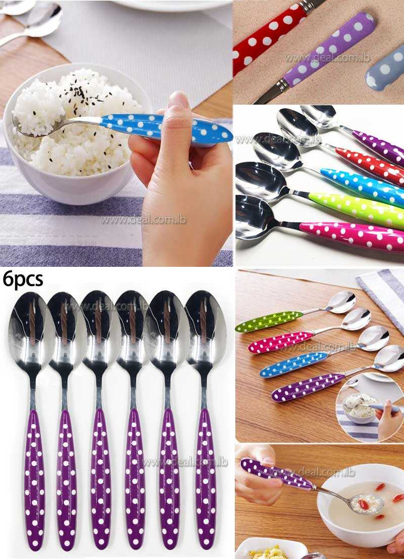 Spotted colorful large ceramic spoon with long handle for ice cream 20cm