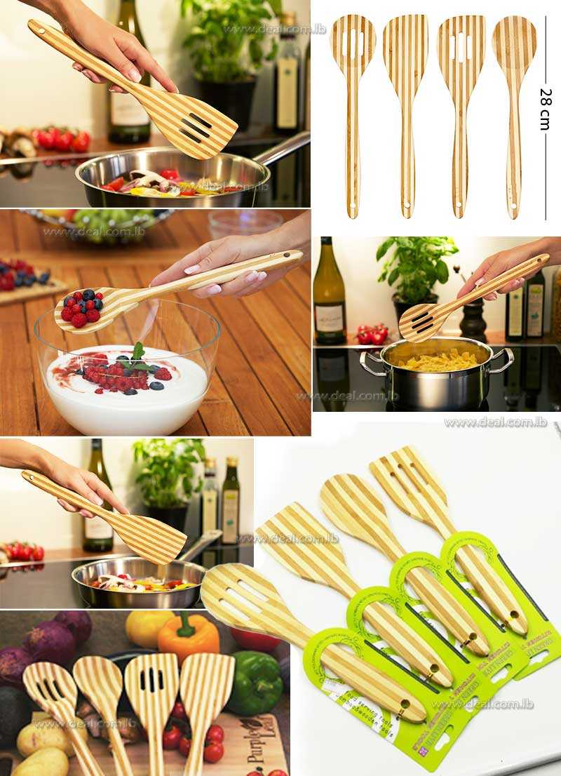 Srtripped  Bamboo Tool  Non Stick Spatula Spoons