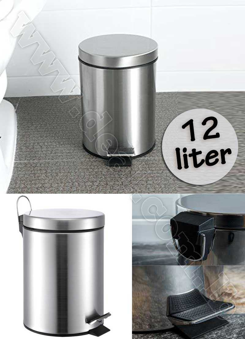Stainless Steel 12 liter Step Trash Can with Bucket
