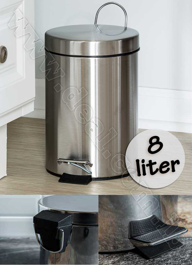 Stainless Steel 8 liter Step Trash Can with Bucket