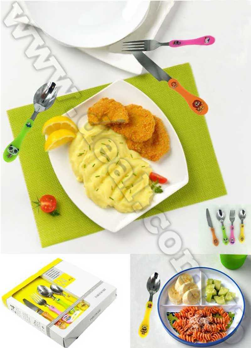 Stainless Steel Tableware Set Of 24pcs Animals