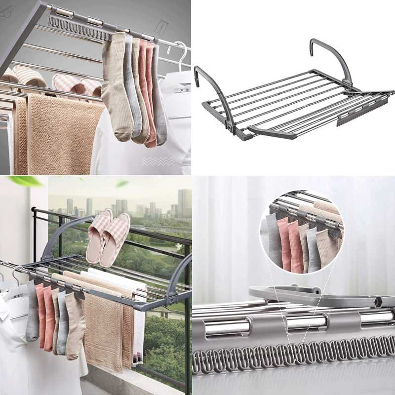 Stainless steel folding radiator drying hanger Extension rack windowsill