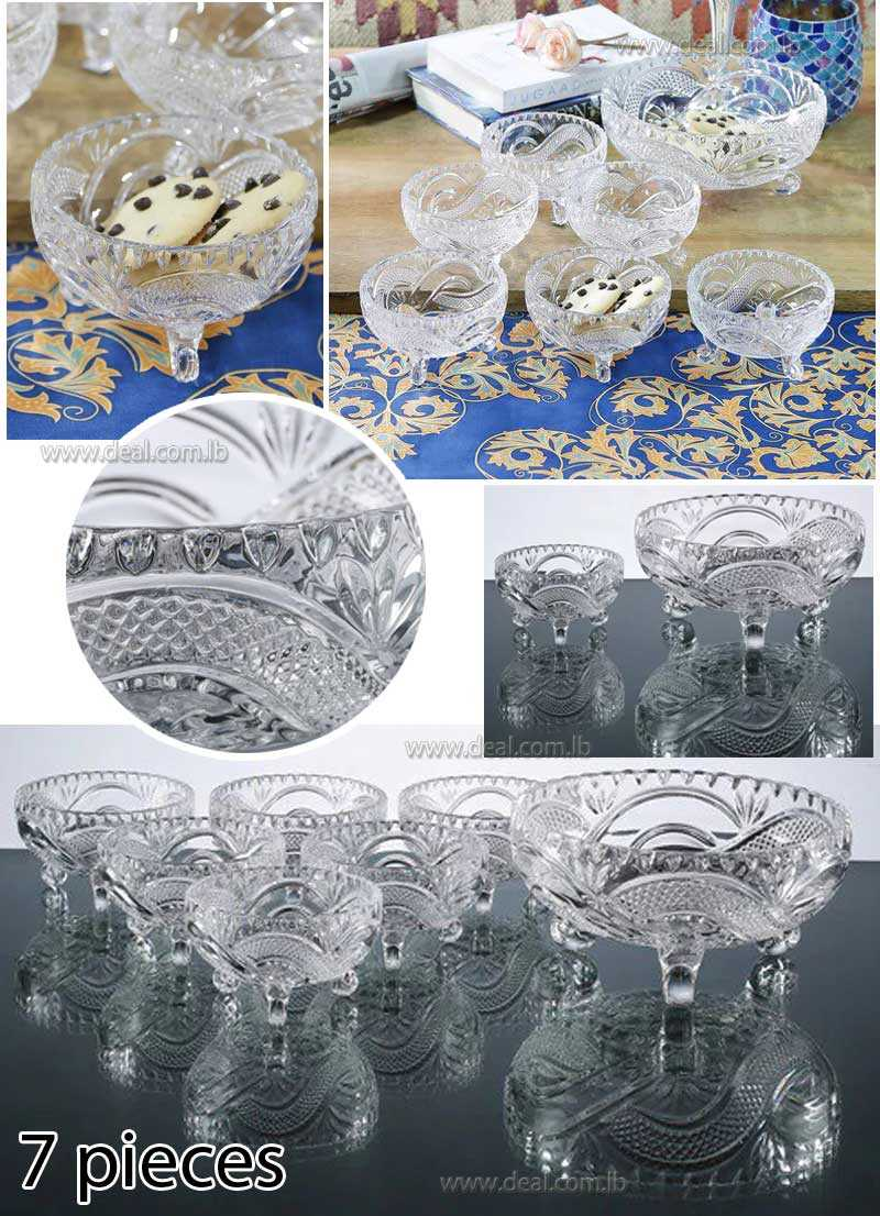 Stoneware Crystal 7 piece Pudding Set Aethetic Durable Crystal Clear