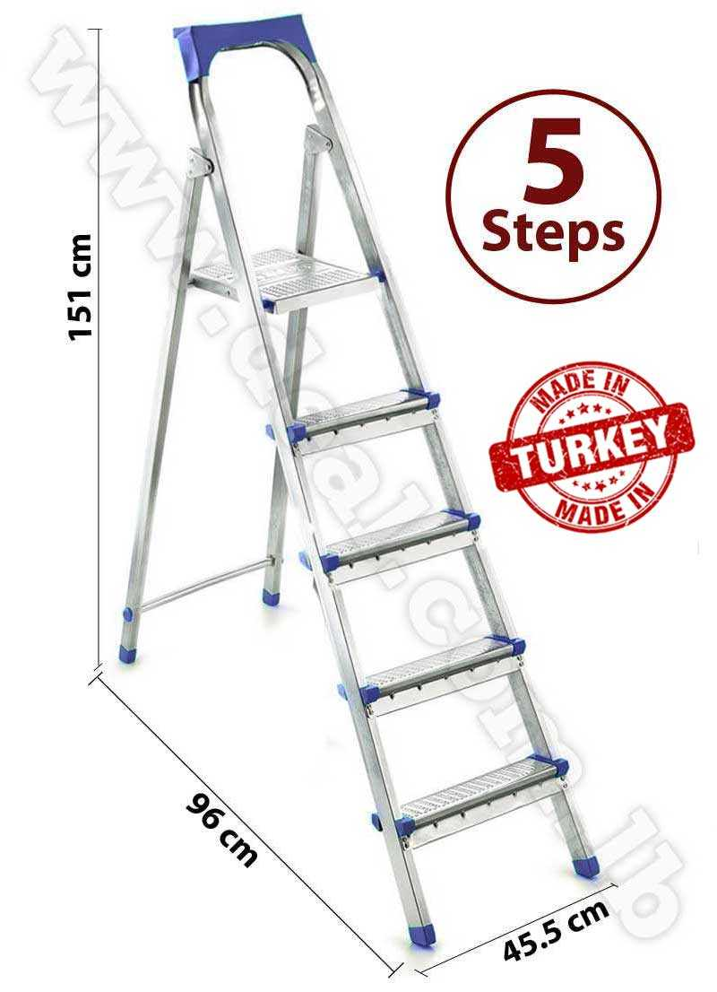 Straight  4 + 1 Stepped Folding Aluminum Ladder