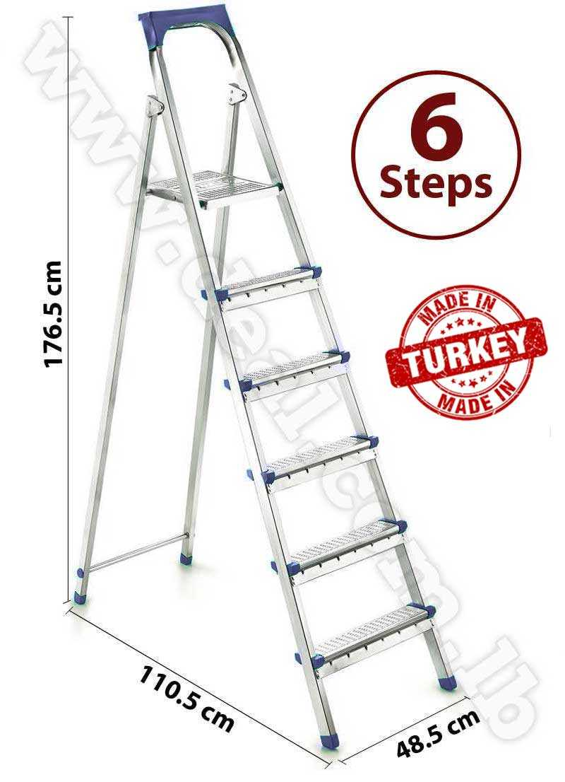 Straight 5 + 1 Stepped Folding Ladder