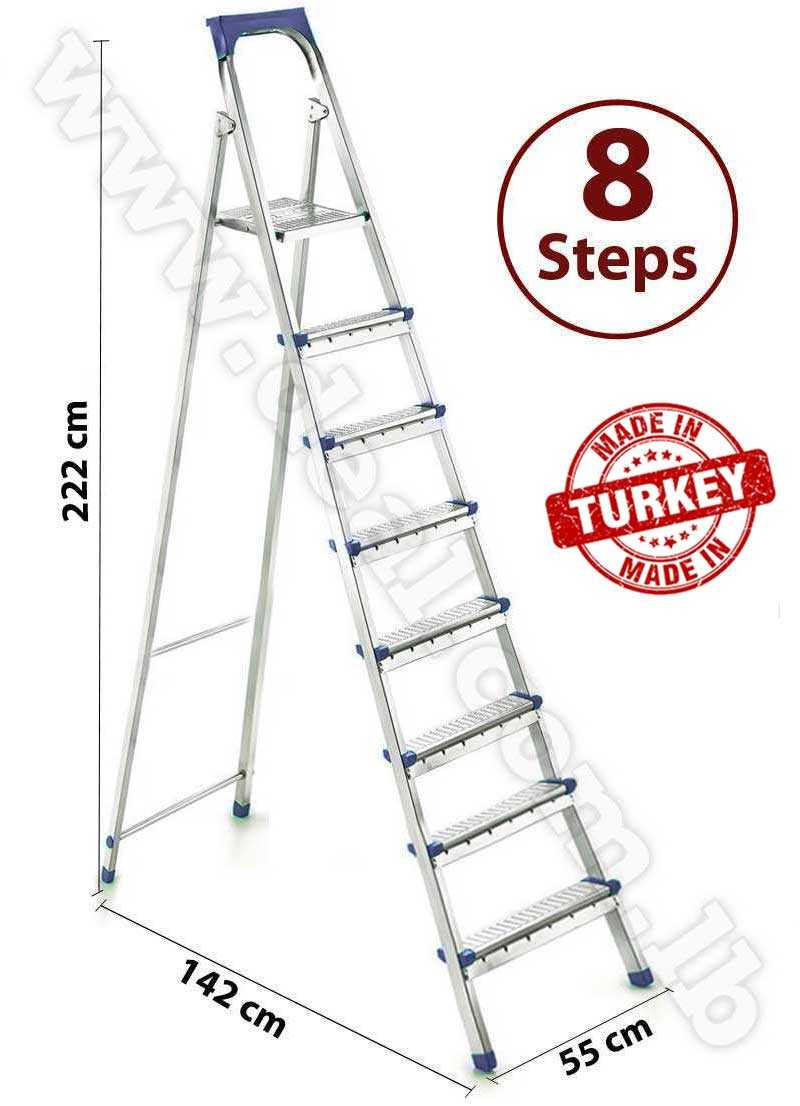 Straight 7 + 1 Stepped Folding Ladder