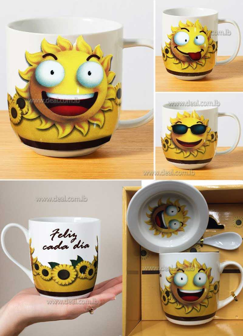 Sun face design mug with plate and spoon