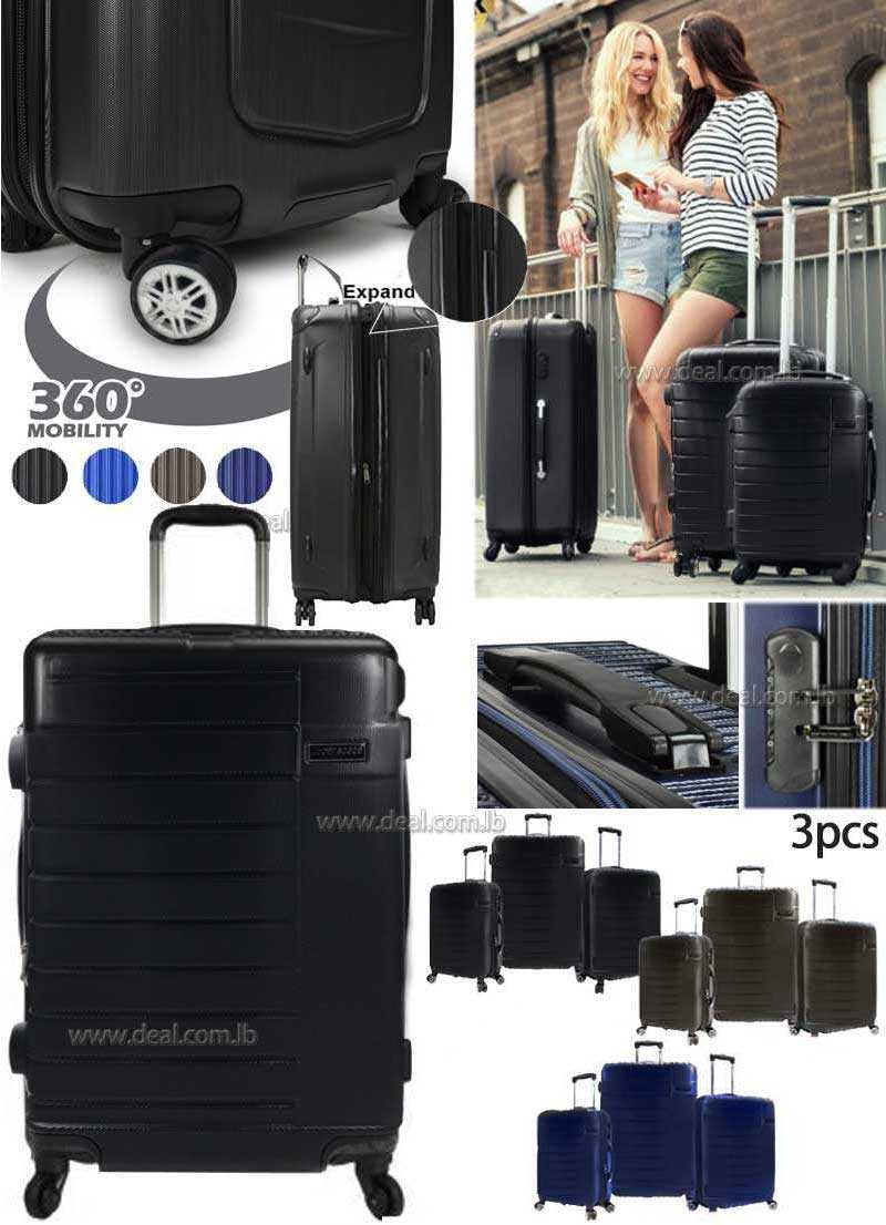 Super space  3 Piece Set Suitcase Hardshell Lightweight luggage set