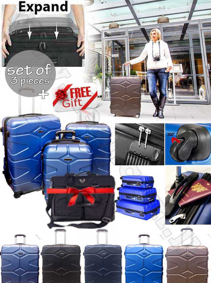 Super space ABS Luggage Suitcase Hard Case Shockproof Travel Set With Free Gift Backpack USB Charging