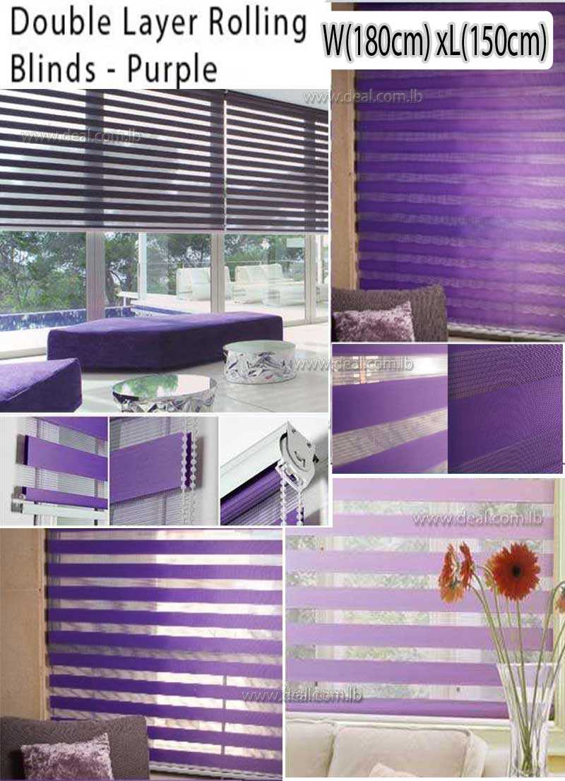 Tracery Purple Duo Roller Blinds Solid Color 180*150 CM