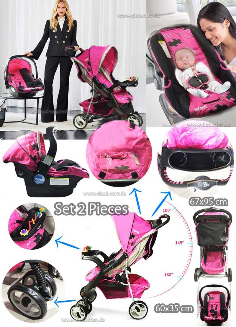 Travel System Pink Car Seat & Stroller 4 In 1 Set Of 2  Pieces Infanti