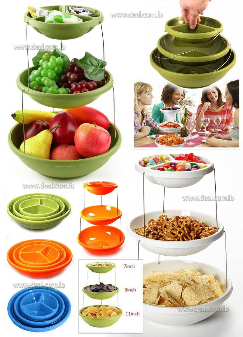 Twistfold Collapsible 3 Tiers Party Serving Bowls Stand