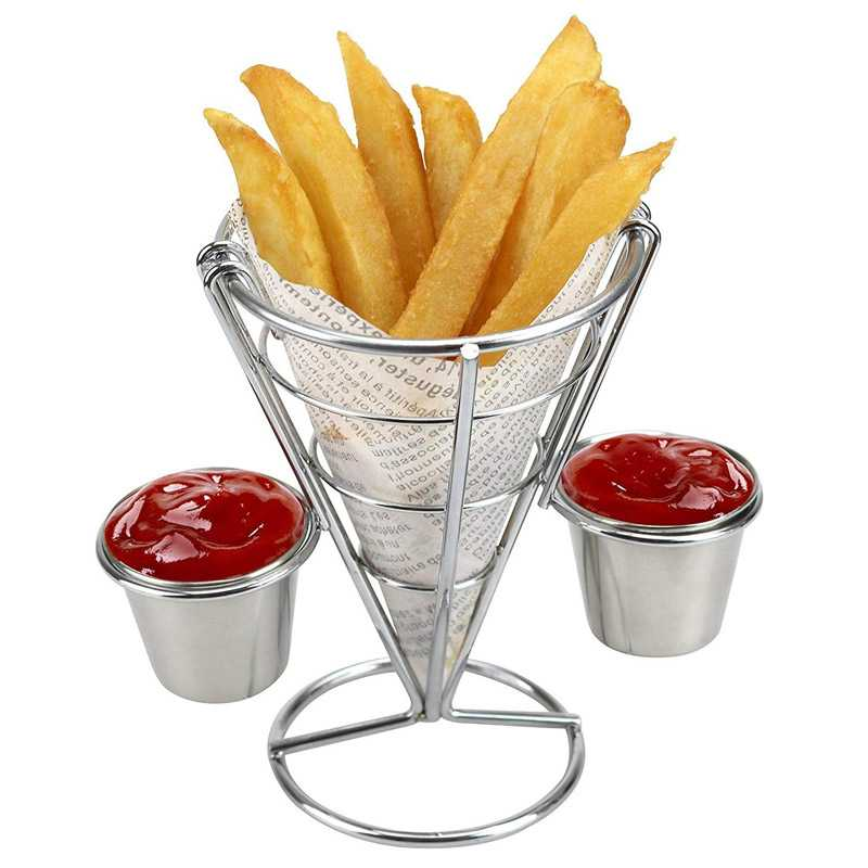 Two Cups Durable Chip Stand Holder Snacks French Fry Fries Display Rack