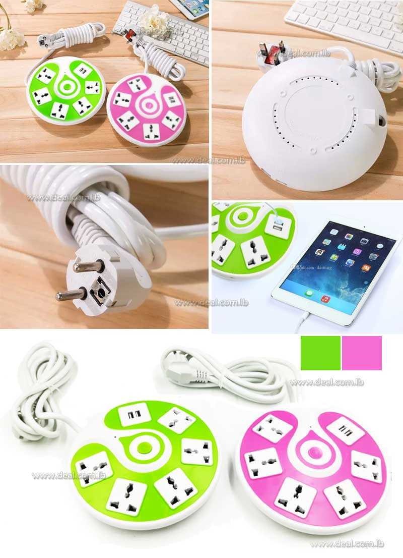 UFO electric extension lead cable 2 way USB socket