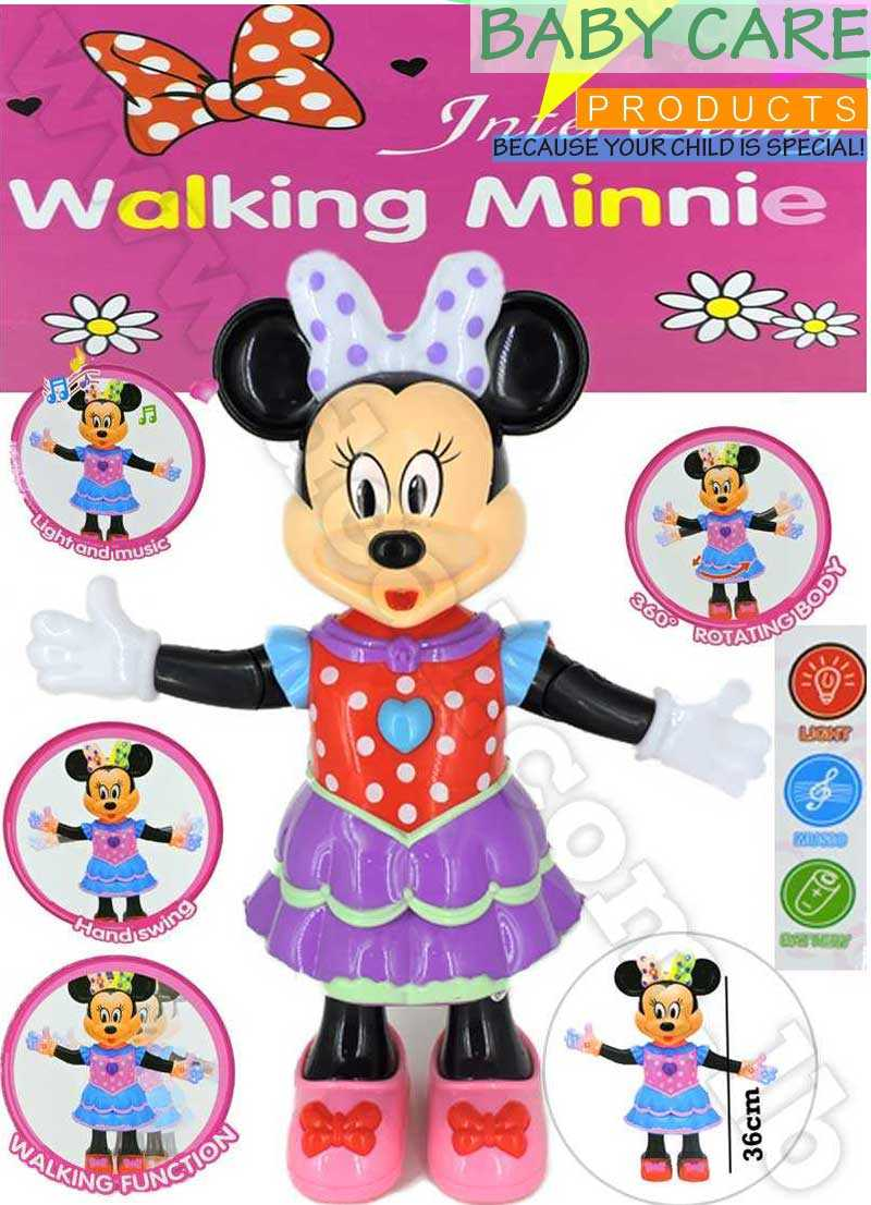 Walking Minnie Light And Music Walking Function Hand Swing 360 Rotating Body 36 cm
