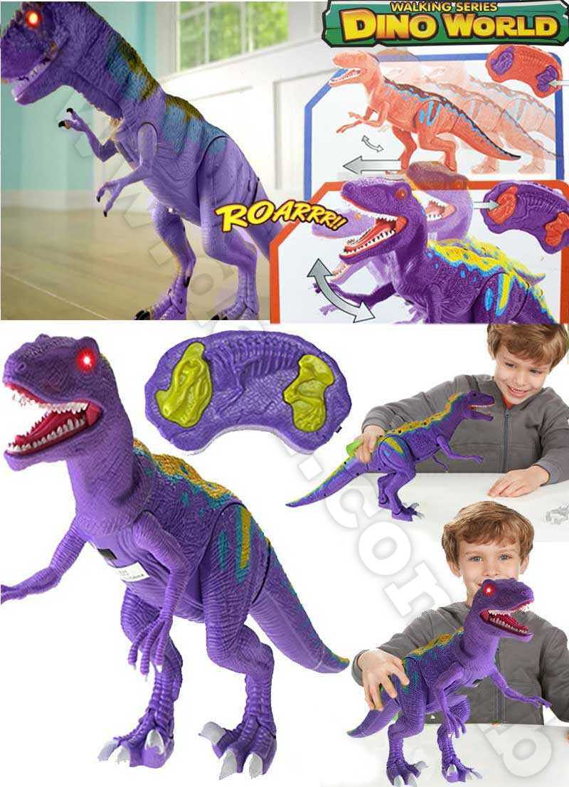 Walking Series Dinosaur World Raptor Remote Controlled RC Battery Operated Toy Velociraptor Figure Shaking Head Walking Movement Light Up Eyes & Sounds