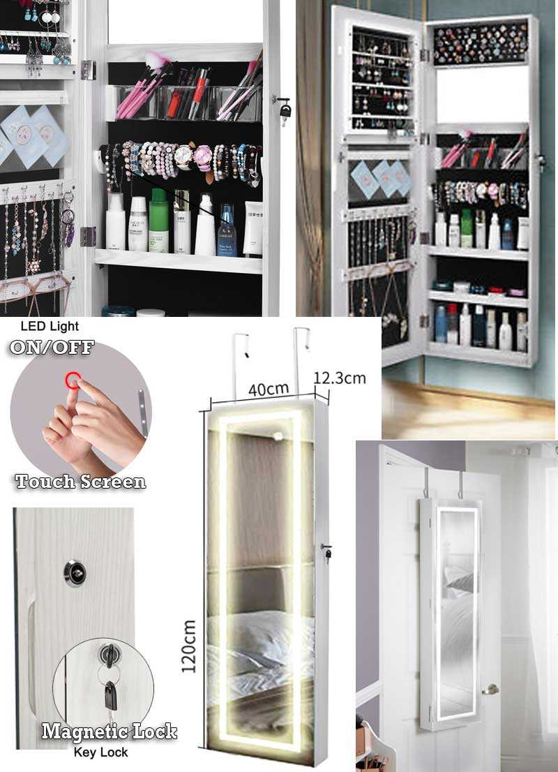 Wall Or Door Mounted Mirrored Jewelry Cabinet Organizer With LED Light Mirror