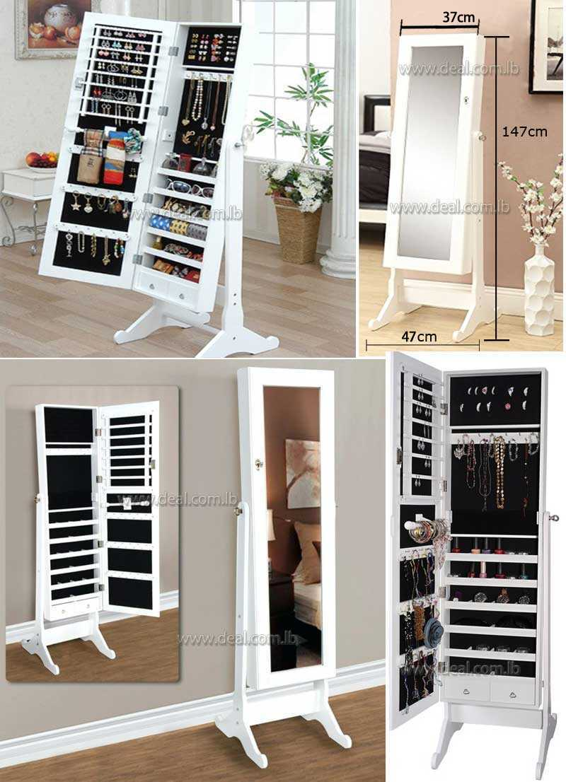 White Accessories Jewelry Exotic style home furnishings Wooden cabinet with mirror