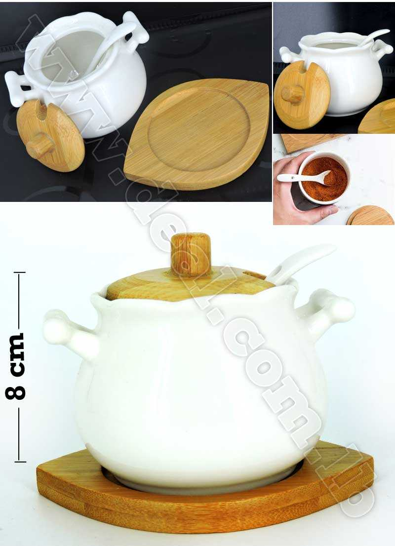 White Ceramic Tank Cruet with Natural Bamboo Wood Lid Tray And Spoon