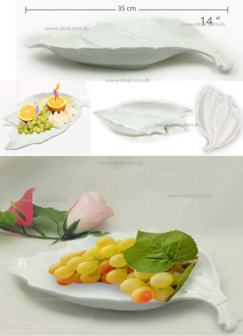 White ceramic leaf shape simple design fruit plates 14