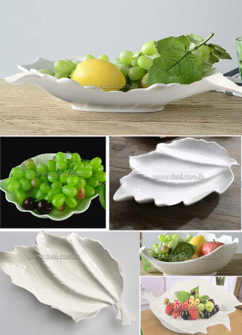 White ceramic leaf shape simple design fruit plates