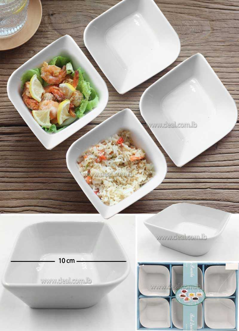 White ceramic square bowl with lid salad bowl sauce dishes rice bowl dishes dishes custom