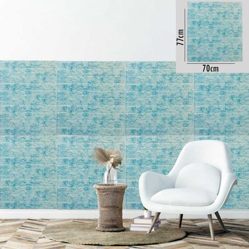 Aqua color 3D Brick Wall Sticker Self 70x77cm PE Foam Wallpaper Antibacterial DIY Stone Brick Wall Decals For Living Room Kids Bedroom Self Adhesive Home Decor