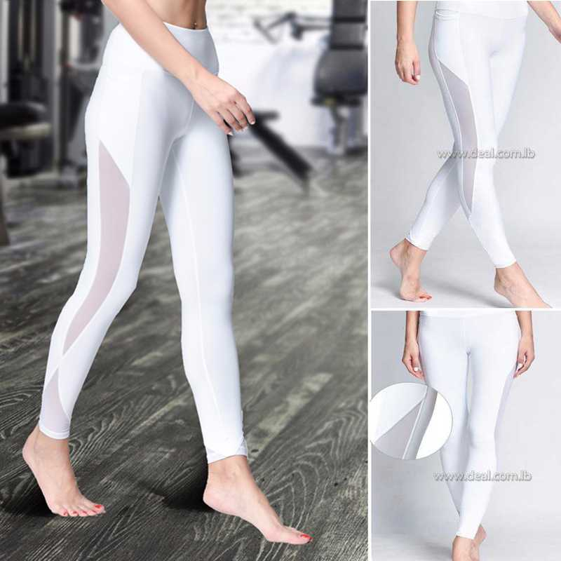 White compression Sexy  Mesh Yoga Pants Tight Gym Leggings