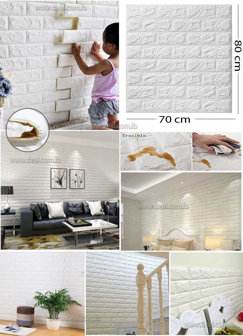 White foam 3D Brick Wall Sticker Wallpaper  Stone Brick Wall