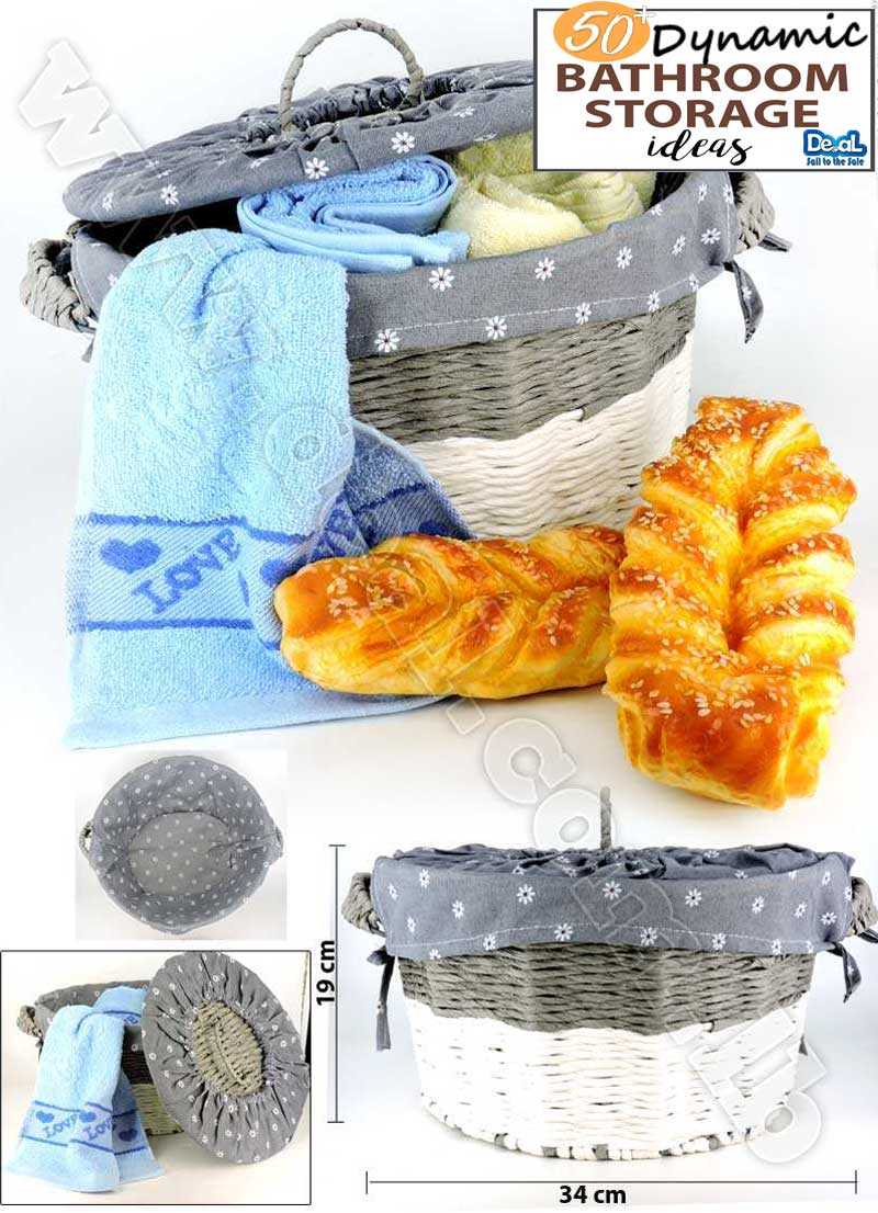 Wicker Basket With Lid And Handle Woven Storage Basket