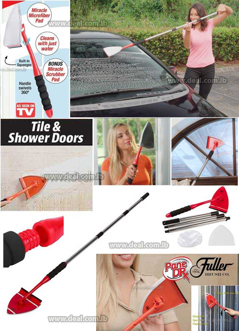 Window Cleaning Kit with Telescopic Handle Bundle