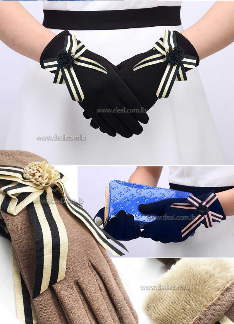 Women Autumn Winter Outdoor Warm Inverted Cashmere Cotton Wrist Glove Solid Color with ribbon
